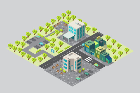 Map of city offices and shops in isometric
