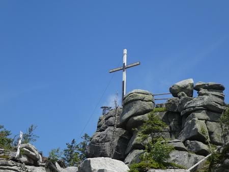 summit cross rock in the bavarian forest Banco de Imagens