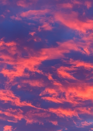 Glowing pink clouds set alight from a vivd sunset, with a blue sky