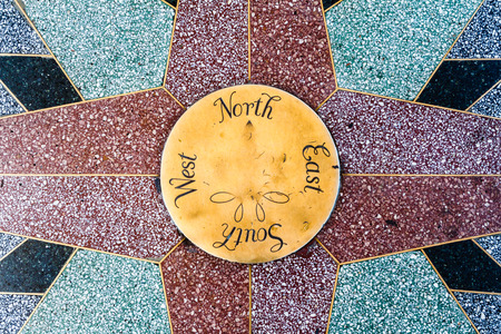 Compass points with north south east west  Stock Photo