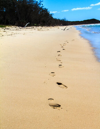 One line of footprints walking out of the water onto the sand on a sunny beach on Stradbroke Island, Queensland, Australia Stock Photo