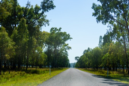 Straight sealed tarmac road in outback Queensland in Australia