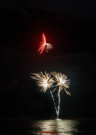 This red firework produced streams of golden sparks, the wind turned them into tentacles.  Two golden fireworks burst underneath. photo