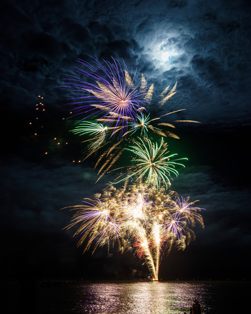 Explosion of fireworks at the Bluewater Festival 2015 at Shorncliffe.