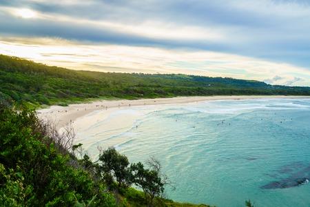 Broken Head beach in the warm late afternoon sunlight.  Broken Head beach is near the famous Byron Bay in Australia.