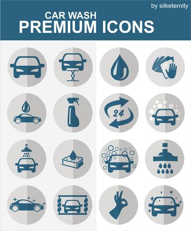 car wash: car icons car wash car wash set of icons Illustration