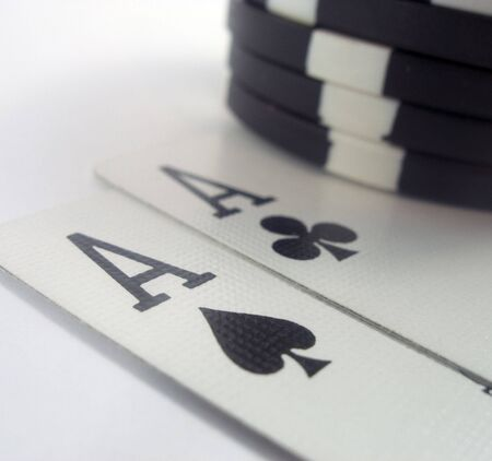 Poker chips and aces
