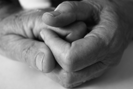 Black and white image of elderly hands holding each other Stock Photo - 4326526