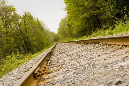 goods train: Train track leading into the distance Stock Photo