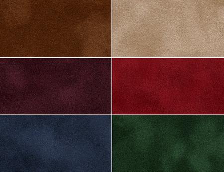Set of multicolored velvet high-resolution textures for background  Imagens
