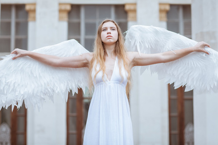 angel alone: Sad girl angel spread her white wings