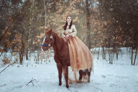 Young woman in beautiful dress riding a horse in the winter forest. Banque d'images - 117955298