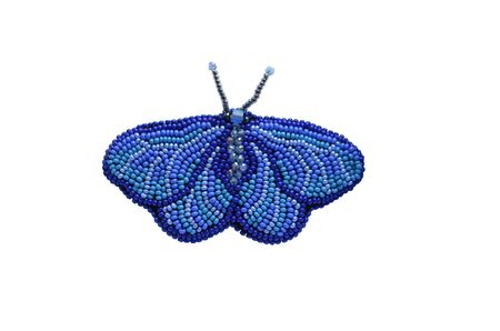 Spring fashion accessory brooch, isolated on white, can be used to print on clothes. Blue moth or butterfly with antennae, shiny beads, fashion item