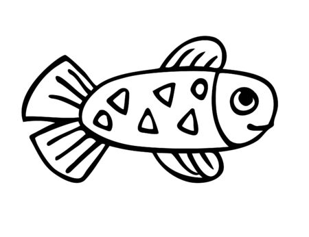 Small baby fish with tail, fins and triangle pattern, baby fish character hand drawn with ink, simple style, uncolored vector