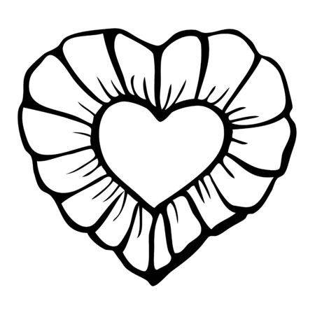 Beautiful heart vector illustration - love symbol, coloring page, hand drawn with ink, element for decorating greeting card or wedding invitation