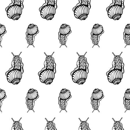Summer black and white seamless pattern with hand drawn ink snails - fabric design or wrapping paper