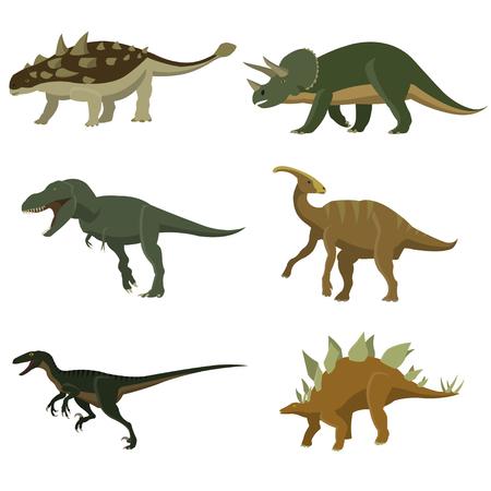 Set of dinosaurs. Stegosaurus, tyrannosaurus, triceratops, ankylosaurus, hidrosaurus, velciraptor