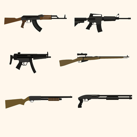 Firearm set. Automatic rifle, machine gun. Flat design. Vector illustration Illustration