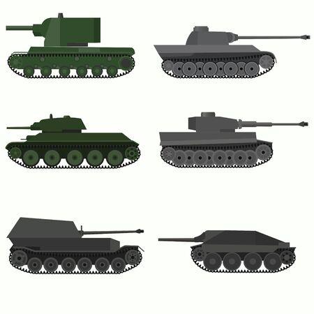 군용 차량 및 탱크의 집합입니다. 평면 디자인.