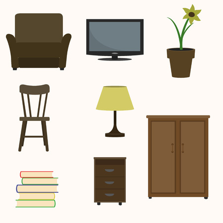Set of home interior items. Illustration