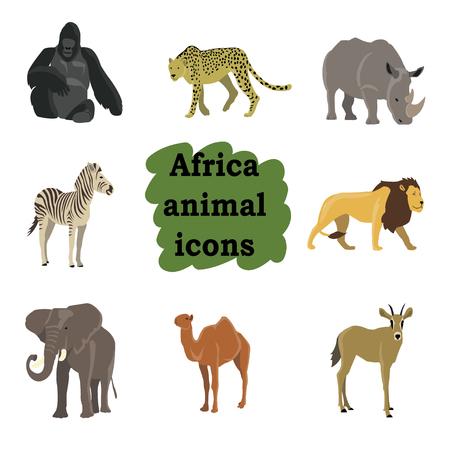 gorila: African animals cartoon vector set.