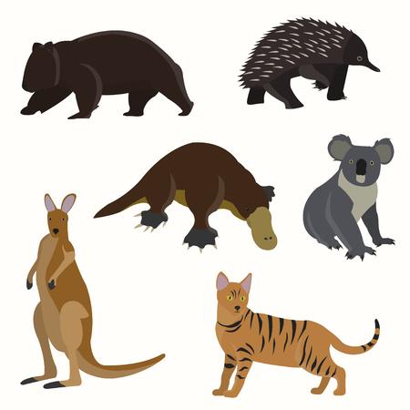 platypus: Set of australian animals. Illustration