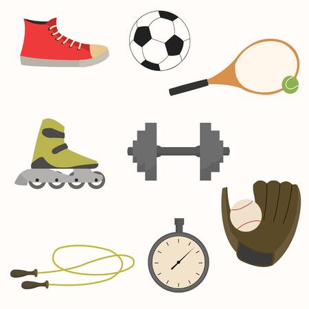 Vector illustration. Set of sport equipment in simple design.
