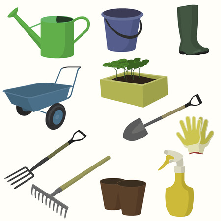 Vector big collection of gardening tools. Forks, rakes, watering can, bucket, boots, seedlings, shovel, forks, sprayer, gloves, cart, pots.