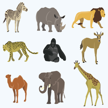 African animals cartoon vector set.