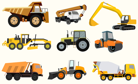 heavy construction: Set of construction equipment.