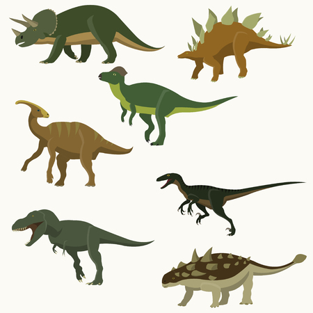 bipedal: Set of dinosaurs. Illustration
