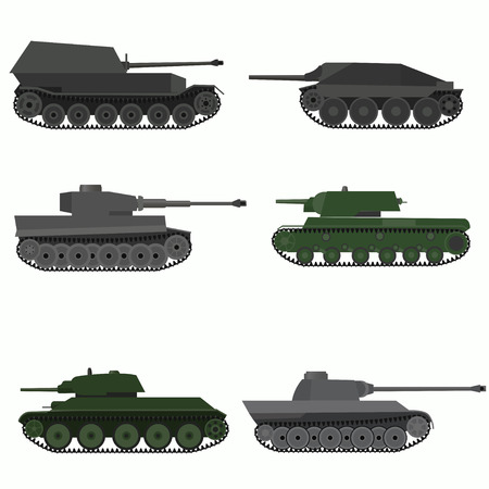 Set of military vehicles and tanks.