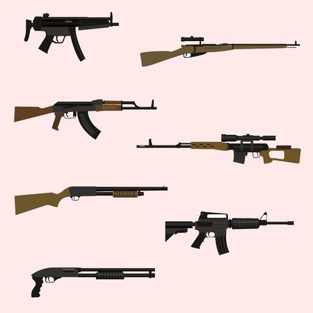 Firearm set. Automatic rifle, machine gun.