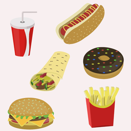 hot dog: Various fast food assorted product  seamless background Illustration