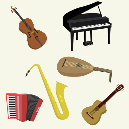 harmonic: A vector illustration of various Musical instruments isolated on white