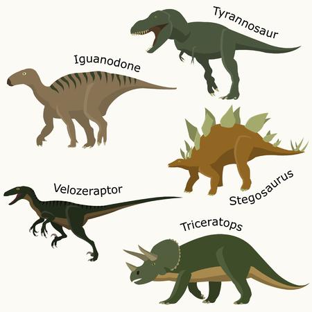 Brontosaurus, Stegosaurus, triceratops, velociraptor, tyrannosaurus. Set Jurassic reptile.