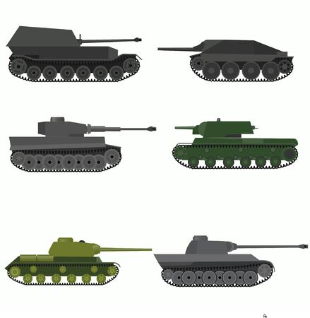 howitzer: Set of the russian military combat vehicle. Flat design.Set of the military combat vehicle. Illustration