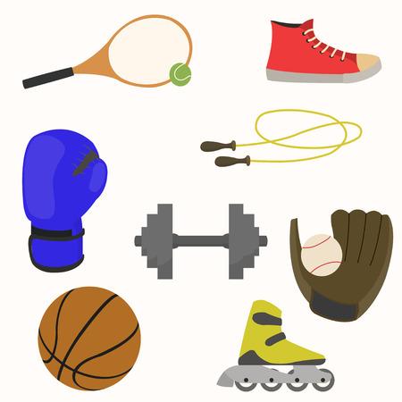 スポーツ用品機器およびスポーツの様々 な種類のアクセサリーのセット。