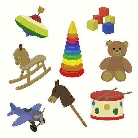 A colorful vector illustration of toy icons for baby, toddler, and childhood stage concept Illustration