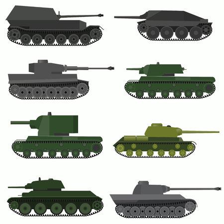 howitzer: Set of military vehicles and tanks. Flat design. Illustration