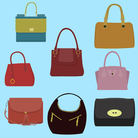 Womens fashion collection of bags. Illustration