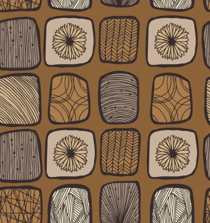 textile image: Brown coffee country seamless mosaic pattern Illustration