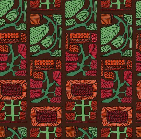 indigen: Colorful ethnic pattern with flowers and leafs  Endless background with ornamental Native American elements  Sunflowers  Hand drawn stylish texture