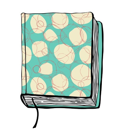 Sketch of book illustration with hand drown turquoise cover Vector