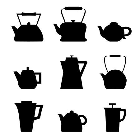 Set van verschillende theepotten Waterkokers pictogrammen Keuken geïsoleerde potten