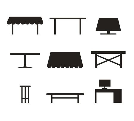 small room: Set of different tables  Black contour silhouettes of furniture