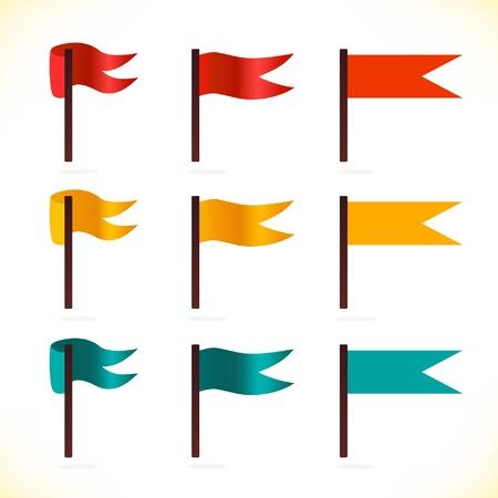 флагшток: Набор флагов иконки многоцветный для веб-страниц, игр, презентаций Иллюстрация