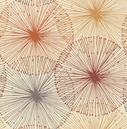 dandelion flower: Sandy and orange radial elements  Seamless background for patterns, cards, textile, wallpapers, web pages  Illustration