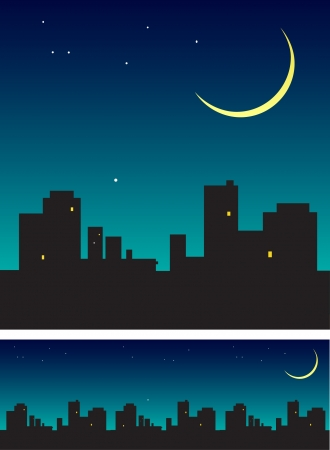 Evening sky with new moon over the roofs  Vector