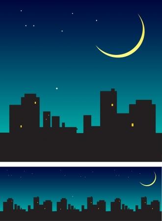 Tarde cielo con luna nueva sobre los tejados